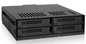 "ExpressCage MB324SP-B 2.5"" SAS/SATA HDD&SSDx4台搭載可能モジュールラック ホットスワップ対応 5.25""ベイサイズ"