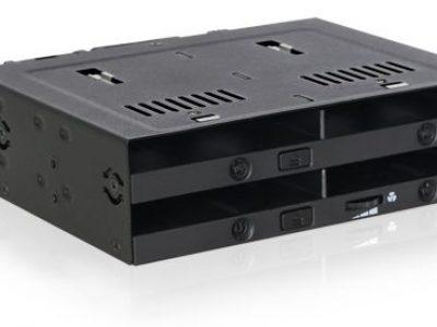 ICYDOCK MB524SP-B flexiDOCK 5.25″ベイ 複数デバイス搭載用 4 x 2.5″ SAS/SATA SSD or HDD モバイルラック トレイレスモデル </br>[型番]MB524SP-B
