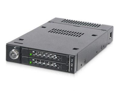 ICYDOCK MB834M2K-B ToughArmor 2xM.2 PCIe NVMe SSD 搭載用モバイルラック 3.5インチベイサイズ </br>[型番]MB834M2K-B